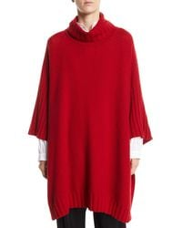 Eskandar - Turtleneck 3/4-sleeve Cashmere Long Poncho Sweater - Lyst