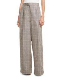 Brunello Cucinelli - Wide-leg Linen Houndstooth Pants - Lyst