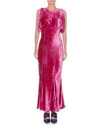 Attico - Jewel-neck Sleeveless Mermaid Velvet Evening Gown - Lyst