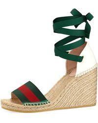 Gucci - Web Wedge Espadrille Sandals - Lyst