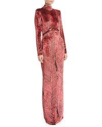 J. Mendel - Turtleneck Long-sleeve Chevron Velvet Burnout Evening Gown - Lyst