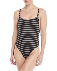 Seafolly - Inka Striped Ribbed 80s Tank High-leg One-piece Swimsuit - Lyst