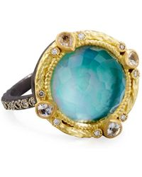 Armenta Old World Midnight Turquoise & Quartz Doublet Ring with Champagne Diamonds 1mKGfU