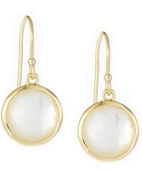 Ippolita - Lollipop® Mini Earrings In 18k Gold With Clear Quartz And Mother-of-pearl Doublet - Lyst