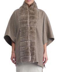 Gorski - Wool Cape W/ Fur Trim - Lyst