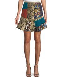 Alice + Olivia - Eriko Mixed-print Flounce Mini Skirt - Lyst