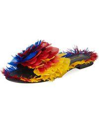Avec Moderation - Bora Bora Feather-embellished Slide Sandal - Lyst