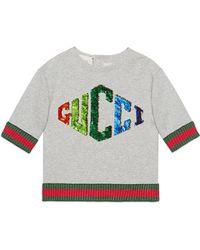 Gucci - Little Girl's & Girl's Sequin Logo Sweatshirt - Light Grey - Lyst