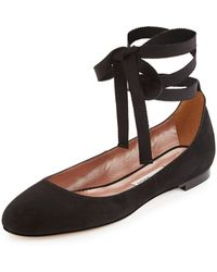 Tabitha Simmons - Daria Suede Ankle-wrap Flat - Lyst