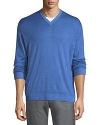 Kiton - Washed Cashmere-silk V-neck Sweater - Lyst