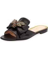 96216553f25d Gucci - Embellished Bee Slide Sandals - Lyst