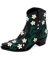 Valentino - Ranch Flowers 40 Leather Ankle Boots - Lyst