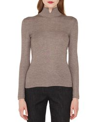 Akris - Mock-neck Long-sleeve Cashmere-silk Knit Pullover Sweater - Lyst