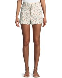 Rebecca Taylor | Vine-embroidered Twill Shorts | Lyst