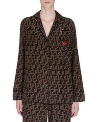 Fendi - Logo-print Button-front Pajama Shirt - Lyst