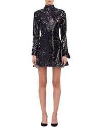 Halpern - Metallic Sequined Turtleneck Dress - Lyst