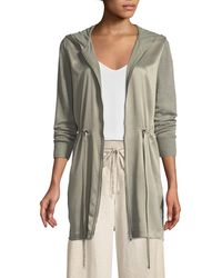 Lafayette 148 New York - Lustrous Linen Hooded Cardigan With Charmeuse Front - Lyst