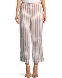 FRAME - Striped Wide-leg Pants - Lyst