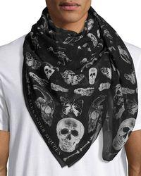 Alexander McQueen | Men's Bones & Butterfly Silk Scarf | Lyst