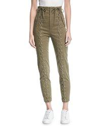 A.L.C. - Kingsley High-waist Lace-up Skinny Pants - Lyst