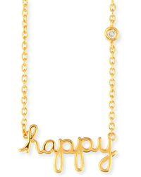 Shy By Sydney Evan - Happy Pendant Diamond Bezel Necklace - Lyst