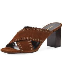 Saint Laurent - Loulou Suede Slide Sandals With Eyelets - Lyst