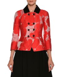 Giorgio Armani - Double-breasted Floral-jacquard Cotton-silk Jacket - Lyst