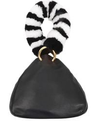 Les Petits Joueurs - Holly Leather Fur-handle Bag - Lyst
