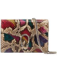 1a45715cf028d9 Lyst - Gucci Bamboo Tassel Python Zip Around Wallet in Pink