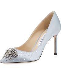 2fd4c2451c26 Lyst - Jimmy Choo Women s Joan 60 Glitter Mesh   Leather Pointed Toe ...