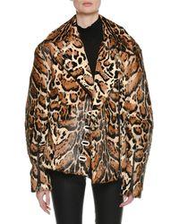 Tom Ford - Zip-front Ocelot-print Fur Oversized Biker Jacket With Leather Trim - Lyst
