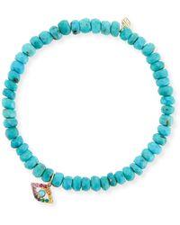Sydney Evan - 4mm Turquoise Beaded Bracelet With Rainbow Eye Charm - Lyst