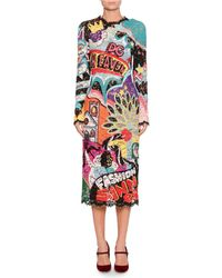 Dolce & Gabbana - Long-sleeve Lace Pop Art Patchwork Fitted Midi Dress - Lyst