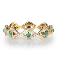 Sydney Evan - Turquoise Cabochon & Diamond Evil Eye Eternity Ring - Lyst