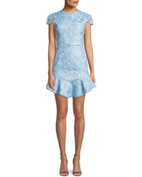 Alice + Olivia - Rapunzel Curved-hem Lace Fit-and-flare Dress - Lyst