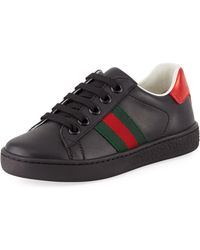 Gucci - New Ace Web-trim Leather Sneaker - Lyst