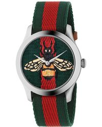 Gucci - Bee-embroidered Nylon Web Watch - Lyst