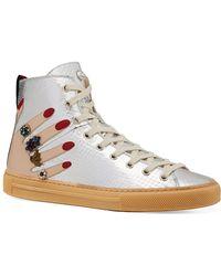 e760a4dc1eb Lyst - Gucci  coda  Metallic High Top Sneaker in Metallic