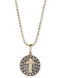 Sydney Evan - Cross Medallion Necklace With Diamonds - Lyst