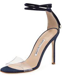 Manolo Blahnik - Estro Fabric & Pvc Ankle-wrap Sandal - Lyst