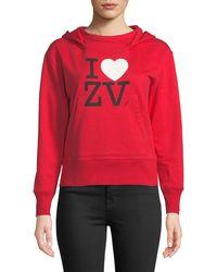 Zadig & Voltaire - I Love Zv Cotton Pullover Hoodie - Lyst
