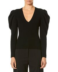Carolina Herrera - V-neck Puff-sleeve Fitted Knit Pullover Sweater - Lyst