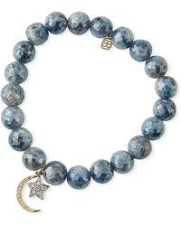 Sydney Evan - Mystic Kyanite Bead Bracelet With Diamond Moon/star Charms - Lyst