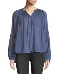 Forte Forte - Shirred Button-front Voile Top - Lyst