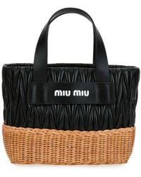 Miu Miu - Matelasse Leather & Wicker Tote Bag - Lyst