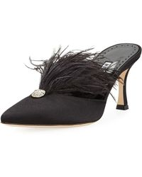 Manolo Blahnik - Isona Satin Feather Mules - Lyst