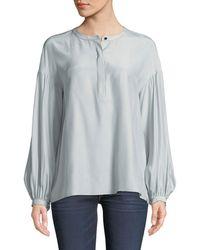 Lafayette 148 New York - Kenzie Long-sleeve Matte Silk Blouse W/ Chain Detail - Lyst