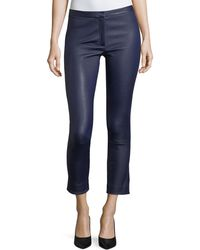 Theory - Classic Skinny-leg Bristol Leather Pants - Lyst