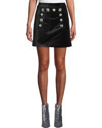 Veronica Beard - Ording Velvet Button-front Short Skirt - Lyst