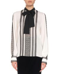 Andrew Gn - Long-sleeve Lace-trim Silk Blouse W/ Neck Tie - Lyst